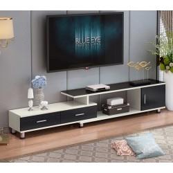 04.19 meuble tv etirable 1 porte 2 tiroir noir et blanc vitre noir
