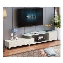 B 08 20  meuble tv etirable 1 porte 2 tiroir noir et blanc vitre noir