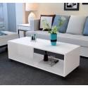 B08.20  table basse salon melamine design epure 80 cm  blanc