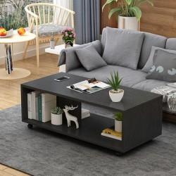B 08 20  table basse salon melamine design epure  noir 80cm