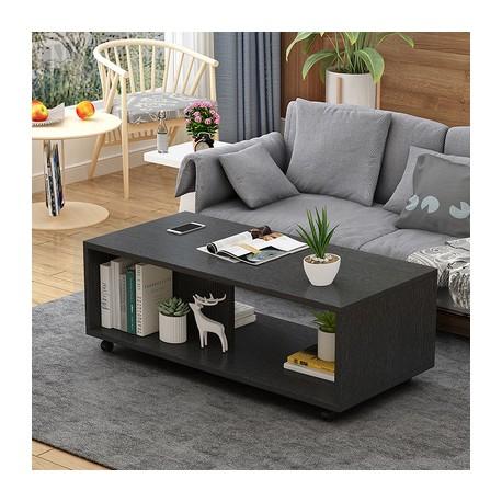 table basse salon melamine design epure  noir 80cm