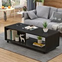 B 08 20  Table basse salon melamine design epure  noir 1M