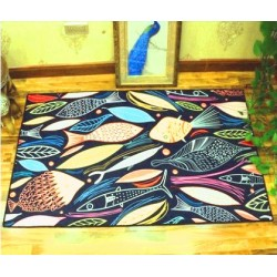 Tapis salon 3D motif poisson multicolore fond  bleu electrique 160X230CM