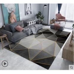 Tapis salon 3D motif geometrique ligne abstrait nuance de gris 160X230CM