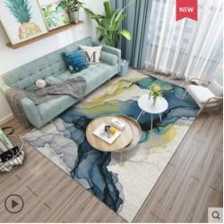 Tapis salon 3D motif watercolor ton de bleu 160X230CM