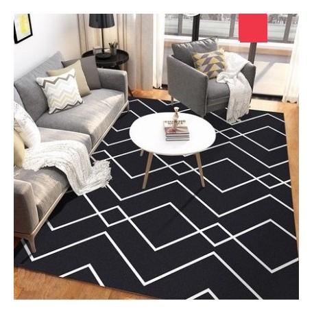 Tapis salon 3D motif graphique losange noir et blanc 160X230CM