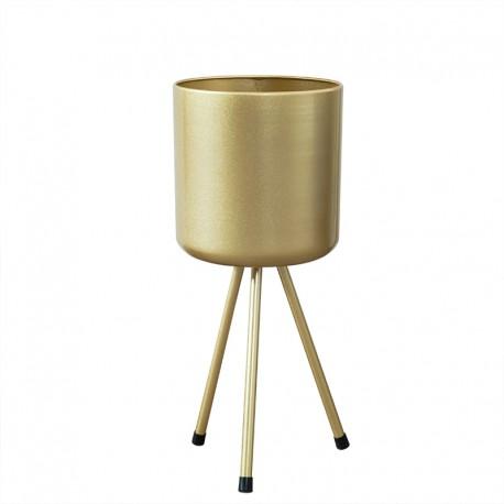 Cache pot design sur pieds en metal dore 19X45CM