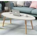 E10.20  table basse  scandinave   ovale  blanc  1m