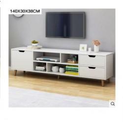 Meuble TV scandinave 1 porte 2 tiroirs blanc uni 140CM