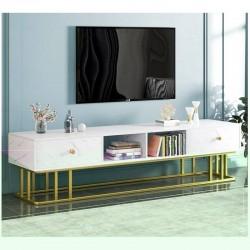 Meuble TV luxe 2 tiroirs blanc effet marbre support metallique dore