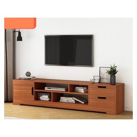 Meuble TV style contemporain 1 porte 2 tiroirs marron 157cm