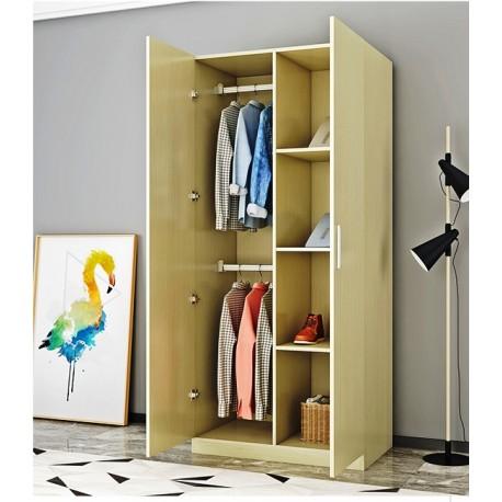 Armoire vêtement melamine 2 porte 2 penderie 4 etagere marron 80x160CM