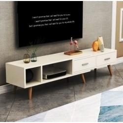 Table tv scandinave haut étirable blanc