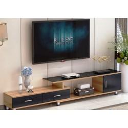 B 08.20 meuble tv etirable 1 porte 2 tiroirs neutre et noir vitree noir