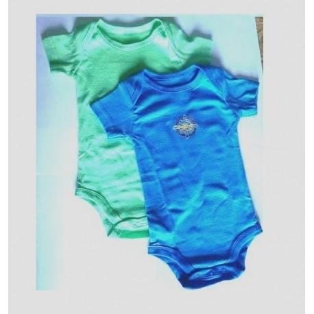 Paire de bodies  manche courte bleu et vert