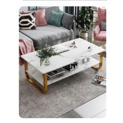 Table basse  2 niveaux  effet marbe  pieds  metallique en U  jaune laiton
