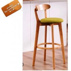 B2B  chaise de bar avec dossier en bois massif  confort