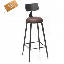B2B Chaise de bar haute avec dossier style nordique en fer forgé