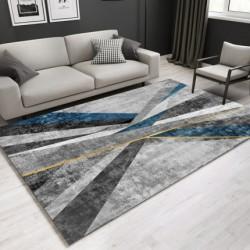Tapis  salon   3D arstistique 2 tons  gris  et bleu