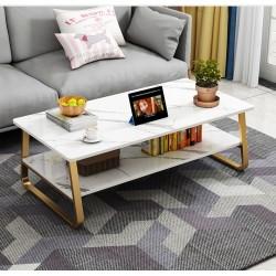 table basse  blanc effet  marbre  pieds en trapèze dore