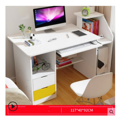 Table ordinateur a rangement  avec tiroirs  blanc et jaune  ou   neutre