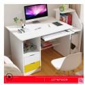 RABAIS B Table ordinateur a rangement  avec  2 tiroirs  blanc et jaune  ou   neutre 117 CM