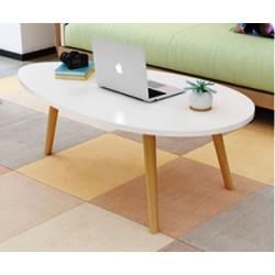 table basse scandinave ovale 80 cm blanc