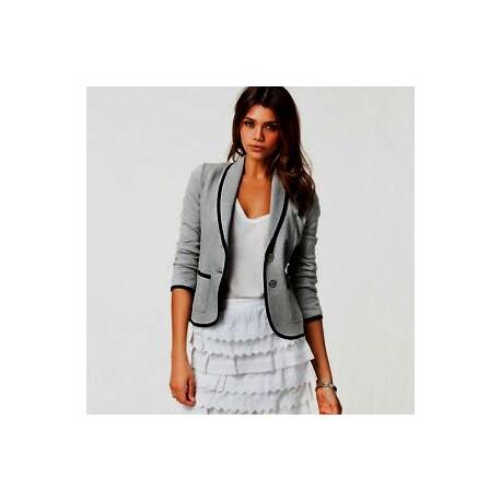 BLAZER coton  jersey  gris  bordure  noire   LA BASIQUE